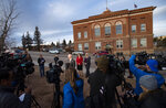 District Attorney Dan May speaks to the media outside the Teller County Courthouse in Cripple Creek, Colo., Monday, Nov. 18, 2019, after Patrick Frazee was found guilty for the murder of his fiancee, Kelsey Berreth, the mother of his toddler daughter. Frazee was given life without parole plus 156 years in prison. (Christian Murdock/The Gazette via AP)