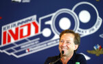 FILE- In this May 18, 2017, file photo, former race car driver John Andretti speaks during a press conference at Indianapolis Motor Speedway in Indianapolis. Andretti, a member of one of racing's most families, has died following a battle with colon cancer, Andretti Autosports announced Wednesday, Jan. 30, 2020. He was 56.  (AP Photo/Michael Conroy, File)