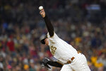 San Diego Padres starting pitcher Blake Snell works against a Los Angeles Angels batter during the fifth inning of a baseball game Tuesday, Sept. 7, 2021, in San Diego. (AP Photo/Gregory Bull)