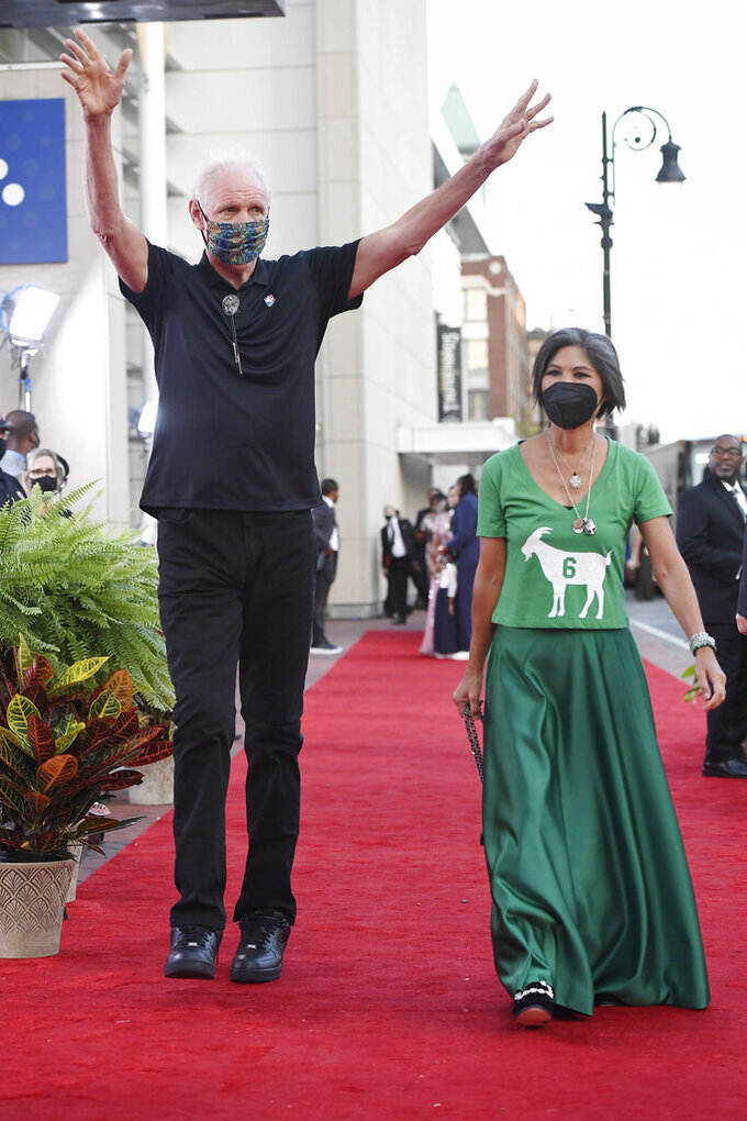 Bill Walton and wife Lori Matsuoka walk the red carpet for the 2021 Basketball Hall of Fame Enshrinement ceremony, Saturday, Sept. 11, 2021, in Springfield, Mass. (AP Photo/Jessica Hill)