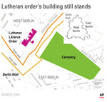 Map shows Lutheran Lazarus Order's location and Berlin Wall in Berlin; 2c x 3 1/2 inches; 96.3 mm x 88 mm;