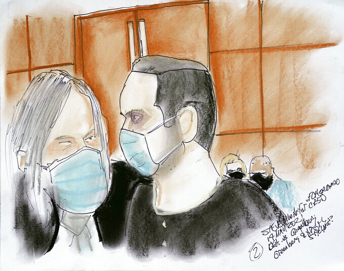 This artist rendering shows Joel Greenberg, right, and his attorney Fritz Scheller, left, during a hearing in federal court in Orlando, Fla., on Monday, May 17, 2021. Greenberg emerged as a central figure in the Justice Department's sex trafficking investigation into U.S. Rep. Matt Gaetz, R-Fla. (AP Photo/Steve Bridges)