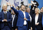 From left, Geert Wilders, leader of Dutch Party for Freedom, Matteo Salvini, Jörg Meuthen, leader of Alternative For Germany party, and Marine Le Pen, attend a rally organized by League leader Matteo Salvini, with leaders of other European nationalist parties, ahead of the May 23-26 European Parliamentary elections, in Milan, Italy, Saturday, May 18, 2019. (AP Photo/Luca Bruno)