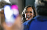 Sen. Kamala  Harris, meets with supporters at Big Mike's Soul Food, Friday, March 8, 2019 in Myrtle Beach, S.C. (Jason Lee/The Sun News via AP)