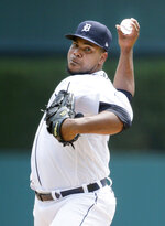 Detroit Tigers starter Wily Peralta pitches against the Minnesota Twins during the third inning of a baseball game Sunday, July 18, 2021, in Detroit. (AP Photo/Duane Burleson)