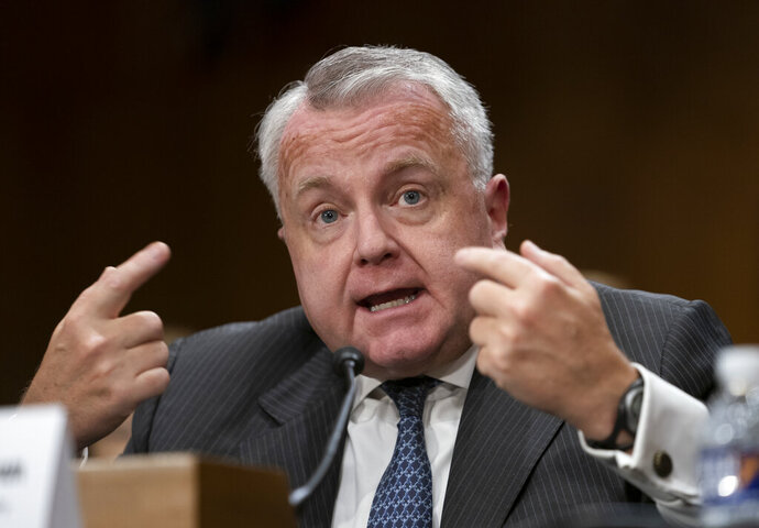 FILE - In this Oct. 30, 2019 file photo, Deputy Secretary of State John Sullivan appears before the Senate Foreign Relations Committee for his confirmation hearing to be the new U.S. ambassador to Russia, on Capitol Hill in Washington. (AP Photo/J. Scott Applewhite)