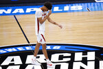 Alabama forward Darius Miles (12) walks off the court after losing to UCLA 88-86 in overtime in a Sweet 16 game in the NCAA men's college basketball tournament at Hinkle Fieldhouse in Indianapolis, Sunday, March 28, 2021. (AP Photo/AJ Mast)
