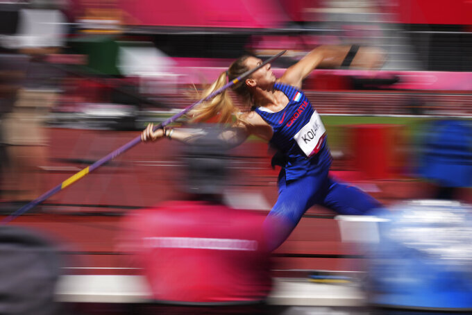 Sara Kolak, of Croatia, competes in qualifications for the women's javelin throw at the 2020 Summer Olympics, Tuesday, Aug. 3, 2021, in Tokyo. (AP Photo/Matthias Schrader)