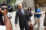 Martin Weinberg, a defense attorney for Jeffrey Epstein, leaves federal court in New York after a judge denied bail to his client, Thursday, July 18, 2019. (AP Photo/Mark Lennihan)