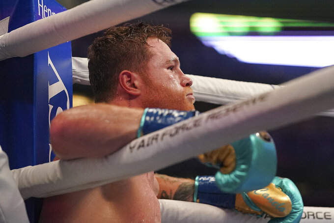 Canelo Alvarez rests in his corner during a unified super middleweight world championship boxing match against Billy Joe Saunders, Saturday, May 8, 2021, in Arlington, Texas. (AP Photo/Jeffrey McWhorter)