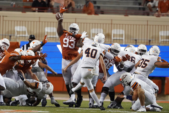 UTEP's Gavin Baechle (40) kicks a field goal against Texas during the first half of an NCAA college football game in Austin, Texas, Saturday, Sept. 12, 2020. (AP Photo/Chuck Burton)