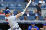 New York Mets' Pete Alonso watches his three-run home run during the first inning of the team's baseball game against the New York Yankees, Tuesday, June 11, 2019, in New York. (AP Photo/Kathy Willens)