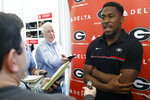 FILE - In this March 19, 2019, file photo, Georgia defensive back J.R. Reed speaks with the media on the first day of spring NCAA college football practice in Athens, Ga. Reed plays for one of the nation's powerhouse programs, where the competition begins as soon as you step on campus. No. 3 Georgia face No. 7 Notre Dame on Saturday. (Joshua L. Jones/Athens Banner-Herald via AP, File)
