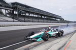 Dalton Kellett pulls out of the pits during a practice session for the Indianapolis 500 auto race at Indianapolis Motor Speedway, Thursday, Aug. 13, 2020, in Indianapolis. (AP Photo/Darron Cummings)