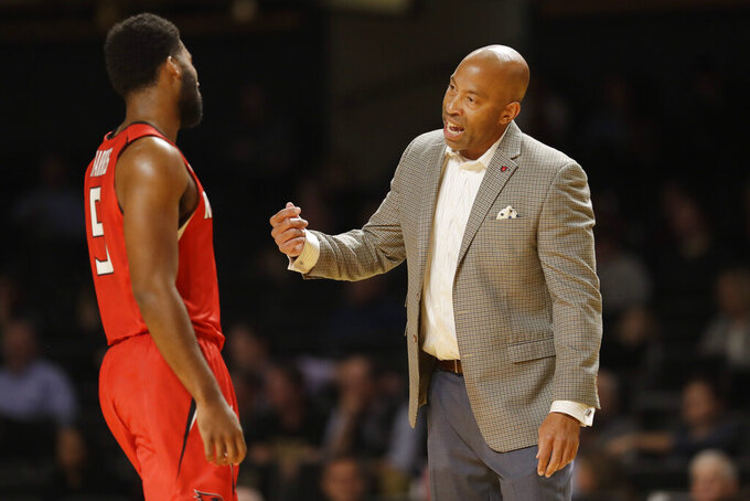 Southeast Missouri State coach Rick Ray talks with guard Chris Harris (5) in the first half of an NCAA college basketball game against Vanderbilt Wednesday, Nov. 6, 2019, in Nashville, Tenn. (AP Photo/Mark Humphrey)