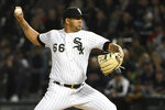 Chicago White Sox starting pitcher Jose Ruiz (66) throws to a Cleveland Indians batter during the first inning of a baseball game Thursday, Sept. 26, 2019, in Chicago. (AP Photo/David Banks)