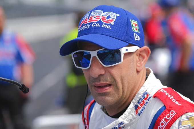 Tony Kanaan, of Brazil, waits for the start of the final practice session for the Indianapolis 500 IndyCar auto race at Indianapolis Motor Speedway, Friday, May 24, 2019, in Indianapolis. (AP Photo/AJ Mast)