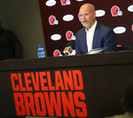Former Cleveland Browns kicker Phil Dawson announces his retirement from the NFL, Friday, Aug. 2, 2019, retiring as a Cleveland Brown at the team's headquarters in Berea, Ohio. (John Kuntz/The Plain Dealer via AP)