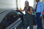 Sen. Kyrsten Sinema, D-Ariz., leaves, after a closed door talks about infrastructure on Capitol Hill in Washington Thursday, July 15, 2021. (AP Photo/Jose Luis Magana)