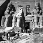 FILE - In this photo taken on Nov. 6, 1964, salvage work are underway on the colossal 32-century-old temple of Abu Simbel, built by King Ramses II and dedicates to the worship of four prominent gods, as scores of determined archaeologist rally for the