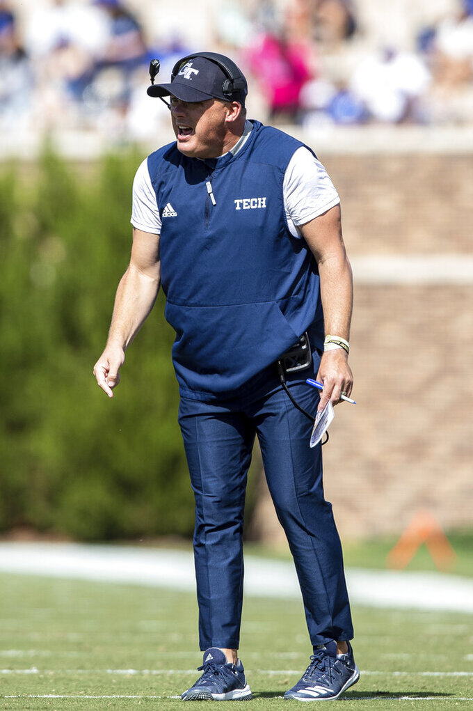 Georgia Tech head coach Geoff Collins shouts towards the field during an NCAA college football game against Duke in Durham, N.C., Saturday, Oct. 12, 2019. (AP Photo/Ben McKeown)