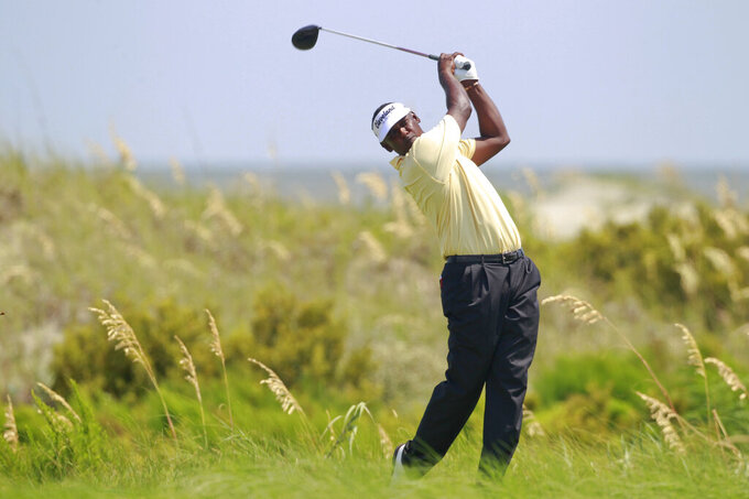 FILE - Vijay Singh of Fiji watches his drive from the sixth tee during the final round of the PGA Championship golf tournament on the Ocean Course of the Kiawah Island Golf Resort in Kiawah Island, S.C., in this Sunday, Aug. 12, 2012, file photo. The PGA returns to the scenic course and officials are expecting a smoother transportation plan for spectators. (AP Photo/John Raoux)