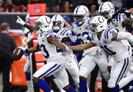 Indianapolis Colts cornerback Kenny Moore (23) runs downfield after making an interception against the Houston Texans during the first half of an NFL wild card playoff football game, Saturday, Jan. 5, 2019, in Houston. (AP Photo/Eric Christian Smith)