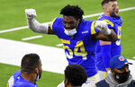Los Angeles Rams outside linebacker Leonard Floyd (54) celebrates the team's win over the New England Patriots in an NFL football game Thursday, Dec. 10, 2020, in Inglewood, Calif. (Keith Birmingham/The Orange County Register via AP)