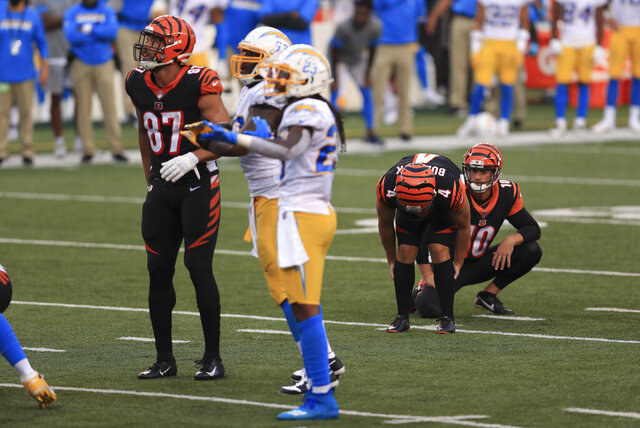 Cincinnati Bengals kicker Randy Bullock (4) reacts after missing a game tying field goal during the second half of an NFL football game against the Los Angeles Chargers, Sunday, Sept. 13, 2020, in Cincinnati. Los Angeles won 16-13. (AP Photo/Aaron Doster)