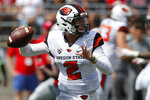 Oregon State quarterback Conor Blount throws a pass against Ohio State during the first half of an NCAA college football game Saturday, Sept. 1, 2018, in Columbus, Ohio. (AP Photo/Jay LaPrete)
