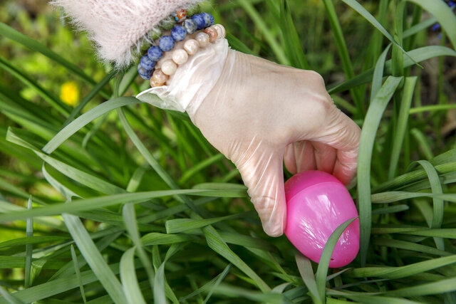 Lauren Dufrat wears a mask and gloves as a coronavirus precaution as she puts out Easter eggs for her neighbors' children to find, Sunday, April 12, 2020, on Easter Sunday in Washington. (AP Photo/Jacquelyn Martin)