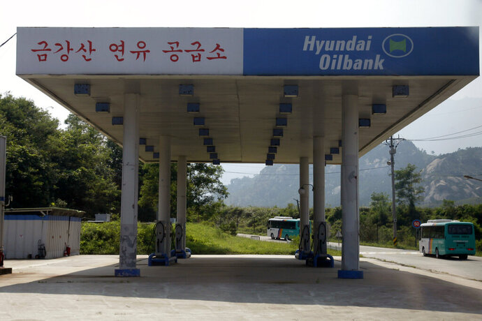 FILE - In this Sept. 1, 2011, file photo, a South Korean invested gas station appears deserted in the Mount Kumgang resort, also known as Diamond Mountain, in North Korea. North Korean leader Kim Jong Un has ordered the destruction of South Korean-made hotels and other tourist facilities at the North's Diamond Mountain resort, apparently because Seoul won't defy international sanctions and resume South Korean tours at the site, Pyongyang's official Korean Central News Agency said Wednesday, Oct. 23, 2019. (AP Photo/Ng Han Guan, File)