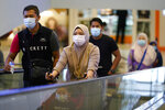 Shoppers wearing a face mask to help curb the spread of the coronavirus walk at a shopping mall in Putrajaya, Malaysia, Thursday, Oct. 1, 2020. Thursday's new COVID-19 infections made it the second highest increase since the recovery movement control order (MCO) phase began on June 9. (AP Photo/Vincent Thian)