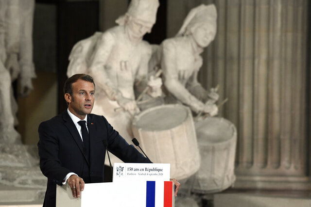 French President Emmanuel Macron speaks during a ceremony to celebrate the 150th anniversary of the proclamation of the Republic, at the Pantheon monument, Friday Sept.4. 2020 in Paris. (Julien de Rosa, Pool via AP)