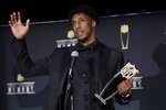 AP Offensive Player of the Year New Orleans Saints' Michael Thomas speaks at the NFL Honors football award show Saturday, Feb. 1, 2020, in Miami. (AP Photo/Patrick Semansky)