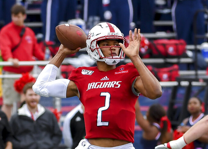 South Alabama quarterback Cephus Johnson (2) passes the ball against Appalachian State during the first half of an NCAA college football game Saturday, Oct. 26, 2019, at Ladd-Peebles Stadium in Mobile, Ala. (AP Photo/Julie Bennett)