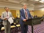 Rep. Bill Seitz, a Cincinnati Republican, discusses newly introduced legislation that would provide three exemptions for employees from being required to receive a coronavirus vaccine, including showing proof of natural antibodies from COVID-19, on Tuesday, Sept. 28, 2021, in Columbus, Ohio. The other exemptions are for employees who can show evidence of negative medical reactions to the vaccine, and reasons of conscience including religious convictions. (AP Photo/Andrew Welsh-Huggins)