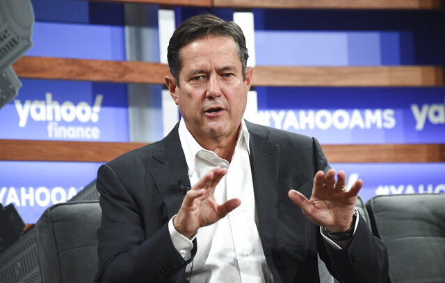 FILE - In this Thursday, Oct. 10, 2019 file photo, Barclays CEO Jes Staley participates in the Yahoo Finance All Markets Summit at Union West on  in New York. Britain's financial watchdog is investigating whether Barclays chief executive Jes Staley disclosed full details of his relationship with the late convicted sex offender Jeffrey Epstein, the bank said Thursday Feb. 13, 2020. (Photo by Evan Agostini/Invision/AP, File)