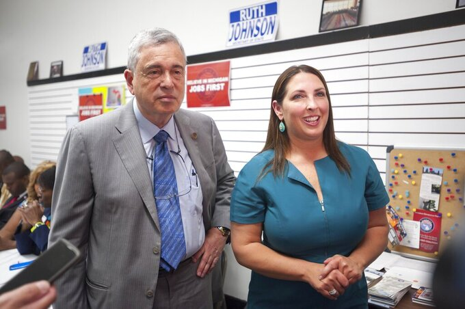 This August, 2020 photo, shows Ron Weiser, left, chairman of the Michigan Republican Party, and Ronna Romney McDaniel, National Republican Committee chairwoman. Michigan Republicans, once the national model for the party's mainstream, have lurched sharply rightward in the past decade. (David Guralnick/Detroit News via AP)