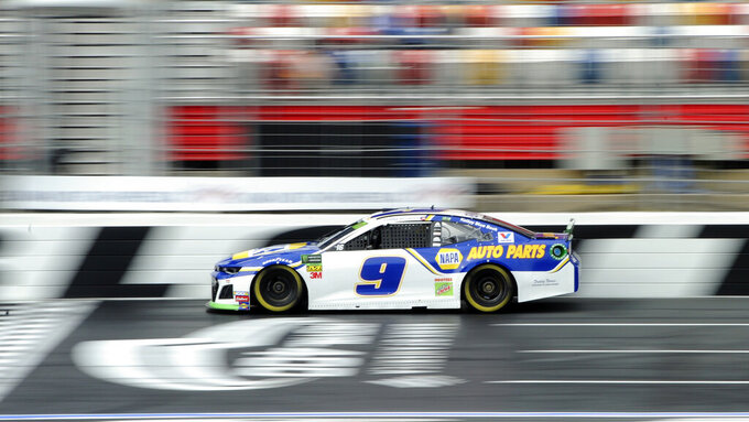 Chase Elliott during practice for Sunday's NASCAR Cup Series auto race at Charlotte Motor Speedway in Concord, N.C., Saturday, Sept. 28, 2019. (AP Photo/Mike McCarn)