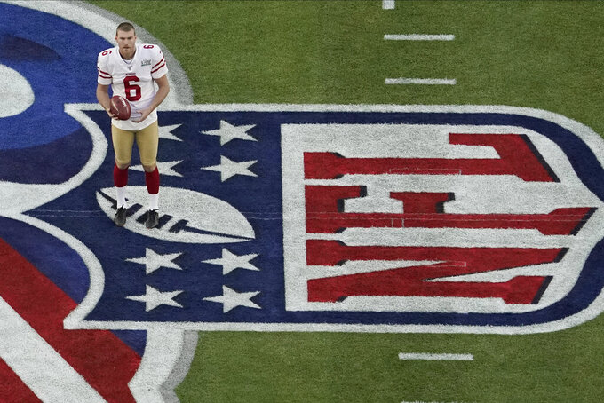 San Francisco 49ers' Mitch Wishnowsky warms up before the NFL Super Bowl 54 football game between the San Francisco 49ers and Kansas City Chiefs, Sunday, Feb. 2, 2020, in Miami Gardens, Fla. (AP Photo/Morry Gash)