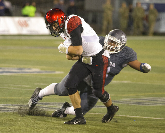 San Diego State quarterback, right, is hit by Nevada's Dom Peterson (51) in the second half of an NCAA college football game in Reno, Nev., Saturday, Oct. 27, 2018. (AP Photo/Tom R. Smedes)