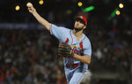 St. Louis Cardinals pitcher Daniel Ponce de Leon throws to a San Francisco Giants batter during the fifth inning of a baseball game in San Francisco, Saturday, July 6, 2019. (AP Photo/Jeff Chiu)