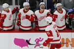 Detroit Red Wings right wing Filip Zadina (11) celebrates with teammates after scoring a goal against the Chicago Blackhawks during the first period of an NHL hockey game in Chicago, Sunday, Jan. 5, 2020. (AP Photo/Nam Y. Huh)