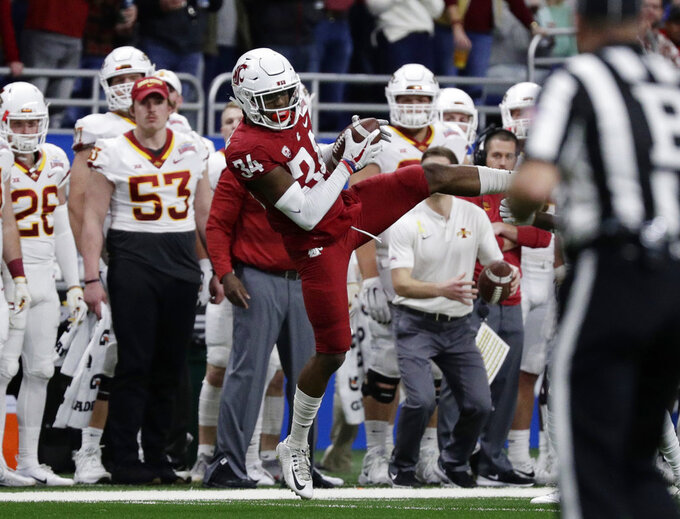 Washington State safety Jalen Thompson (34) intercepts an Iowa State pass during the the first half of the Alamo Bowl NCAA college football game Friday, Dec. 28, 2018, in San Antonio. (AP Photo/Eric Gay)