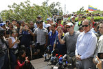 U.S. Senator Marco Rubio, R-Fla., speaks to the press near the Simon Bolivar International Bridge, which connects Colombia with Venezuela, in La Parada, near Cucuta, Colombia, Sunday, Feb. 17, 2019. As part of U.S. humanitarian aid to Venezuela, Rubio is visiting the area where the medical supplies, medicine and food aid is stored before it it expected to be taken across the border on Feb. 23. (AP Photo/Fernando Vergara)