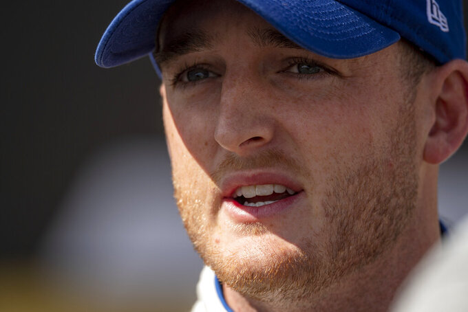 Driver Ty Dillon meets with the press after qualifying for Sunday's NASCAR Xfinity Series auto race, Saturday, Oct. 5, 2019, in Dover, Del. (AP Photo/Brien Aho)