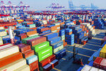 A view of the container port in Qingdao in eastern China's Shandong province on Tuesday, Jan. 14, 2020. China's exports rose 0.5% in 2019 despite a tariff war with Washington after growth rebounded in December on stronger demand from other markets. (Chinatopix Via AP)