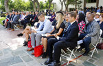 Family and friends of those who died or were injured in the disastrous head-on collision of a freight train and a Metrolink commuter train 10 years ago attend a memorial ceremony at Union Station in downtown Los Angeles Wednesday, Sept. 12, 2018. The crash killed 25 and more than 100 were injured after the Metrolink train went through a red signal and hit the freight in the Chatsworth area of Los Angeles' San Fernando Valley Investigators believe the engineer was texting. (AP Photo/Ariel Tu)