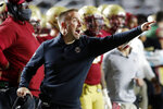 FILE - In this Oct. 24, 2020, file photo, Boston College football head coach Jeff Hafley instructs his team during an NCAA college football game against Georgia Tech in Boston. After taking over at Boston College just before the pandemic broke out, Hafley isn't looking for things to get back to normal. (AP Photo/Michael Dwyer, File)